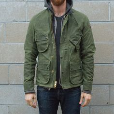 Vanson Stormer Waxed Canvas Jacket - Olive