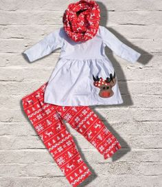 Get A Size Up For Next Year! Red Snowflake Reindeer 3 Piece Christmas Outfit Girls