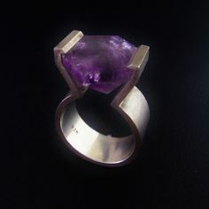 Unique Amethyst Ring Handmade Ring Cocktail Ring by SalonUber