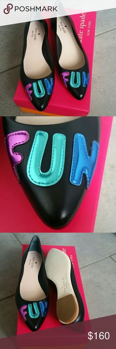 NIB Kate Spade Fun Flats Black Size 8 RV $198, comes new in box, never wor  Smoke and pet free home kate spade Shoes Flats & Loafers