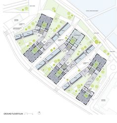 Social Housing In Bergen by Rabatanalab - Archiscene - Your Daily Architecture… Social Housing Architecture, Architecture Office, Residential Architecture, Landscape Architecture, Landscape Design, Architecture Design, Masterplan Architecture, Building Architecture, The Plan