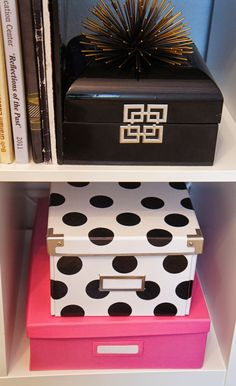 DIY Kate Spade Inspired Ikea Storage Boxes, ikea Kassett hack, diy polka dot storage box. The Cuban in My Coffee