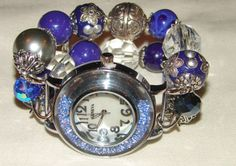 Blue Silver and Crystal Chunky Beaded Watch Band and by BeadsnTime, $30.00