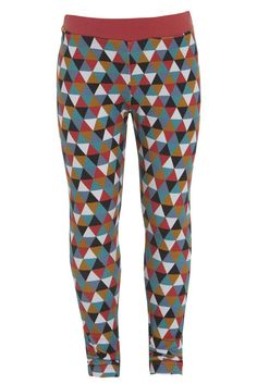 Girls Sports Deluxe leggings in the unique and colourful triangle print. The print is complimented by the winter rose waistband. Perfect for girls everyday wear.