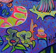 Detail of one of my paintings . Australian Artists, Afternoon Tea, Kids Rugs, Detail, Paintings, Facebook, Purple, Instagram, Cake