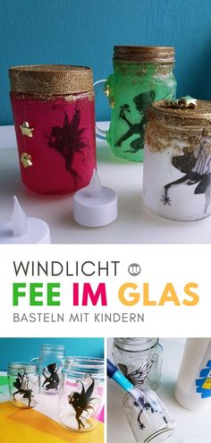 """Magische Feenlaterne: """"Fee im Glas"""" basteln mit Kindern [Upcycling] Feenglas Windlicht basteln Kinder The post Magische Feenlaterne: """"Fee im Glas"""" basteln mit Kindern [Upcycling] appeared first on Kristy Wilson. Upcycled Crafts, Easy Crafts, Diy And Crafts, Crafts For Teens To Make, Diy Gifts For Kids, Paper Crafts For Kids, Paper Crafting, 3d Paper Star, Paper Stars"""
