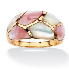 18k Gold over Sterling Silver Pink & White Shell Ring.... would like in sterling better