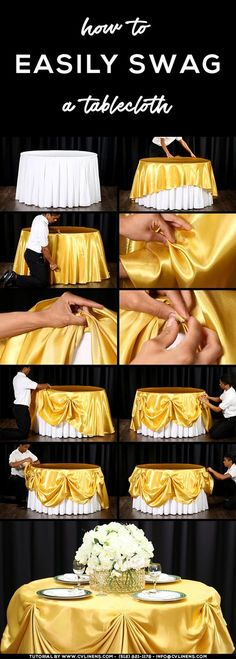 how to swag a tablecloth easily diy wedding sweetheart table DIY Event How to Easily Swag a Tablecloth Table Cadeau, Wedding Centerpieces, Wedding Decorations, Diy Party Table Decorations, Banquet Decorations, Wedding Table Linens, Table Wedding, Wedding Ideas, Wedding Colors