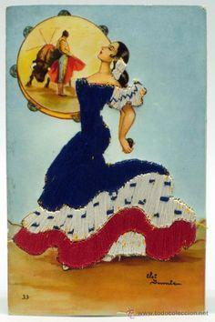 Postal bordada mano flamenca toros traje regional Elsi Gumier nº 33 Romarli años 40 - 50 sin circula