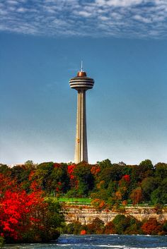 The Skylon Tower (160 m height), in Niagara Falls, Ontario, is an observation tower that overlooks both the American Falls, New York and the larger Horseshoe Falls, Ontario from the Canadian side of the Niagara River.