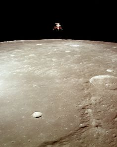 """humanoidhistory: """"The Apollo 12 lunar module """"Intrepid"""" in a landing configuration over the surface of the Moon, November (NASA/ASU) """" Nasa Space Center, Nasa Space Station, Moon Missions, Apollo Missions, Astronomy Science, Space And Astronomy, Apollo Spacecraft, Apollo Space Program, Space Photos"""