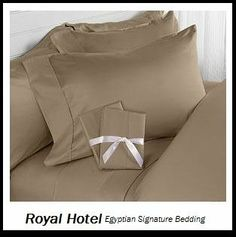"""Royal Hotel's Queen size Solid Brown 800-Thread-Count 3pc Duvet-Cover-Sets and 1pc Siberian Goose Down Alternative Comforter 100 percent Egyptian-Cotton by Royal Hotel. $144.99. Luxury Queen-size goose down-alternative set includes 1pc comforter and 3pc Duvet Cover Sets. 1 Duvet-Cover (90"""" x 92"""") 2 Pillow Sham (20"""" x 26"""") W/ Button Closure. Machine wash in cold water with similar colors. Tumble dry low. Do not bleach. Queen size includes 90x90 inches Comforter, fill..."""
