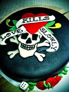 Ed Hardy tattoo scull birthday cake - Torte per Tutti