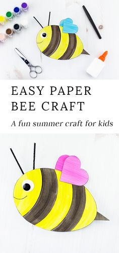 This easy and fun bee craft with heart wings includes a printable template, making it perfect for home or school. #insectcrafts #easycraftsforkids #printablecrafts #kidscrafts #beecrafts #preschoolcrafts via @https://www.pinterest.com/fireflymudpie/