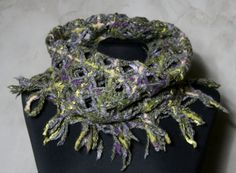 Hand woven wool scarf. Wool scarf netting circular от LSWoolDesign