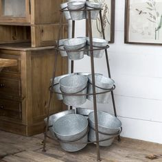 Tiered Storage Stand With Galvanized Buckets For potted plants Galvanized Decor, Galvanized Buckets, Metal Buckets, Antique Farmhouse, Farmhouse Decor, Metal Tub, Tiered Stand, Farm Stand, Flower Stands