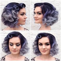 short curly purple ombre hair More at http://www.hairchalk.co #haircolor #hairdye #hairchalk: