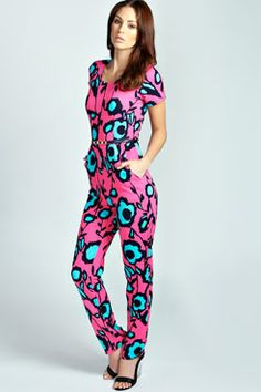 32b6b9a6f5 Aria Neon Floral Capped Sleeve Jumpsuit at boohoo.com Jumpsuits Australia