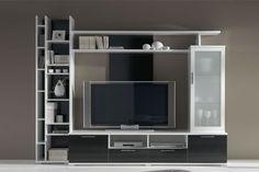 Mueble para salón combinación hueso-negro.