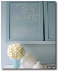 Custom Color Chalkboard Paint - Martha Stewart Organizing Crafts. AMAZING - mix 1 cup of paint with 2 tbsp. of un-sanded tile grout and you've got any color chalkboard paint you want  Found on marthastewart.com