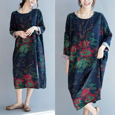 38e89506bda7 Fall Cotton Linen Loose Casual Vintage Floral Maxi Dress