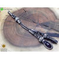 Damla Model Ametist Taş Sallantılı Oksitli El Örmesi Saf Gümüş Kazaziye Püskül (STOK KODU: 20131993)