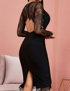 Black Autumn Lace Party Sexy Hollow Out Bandage Dress