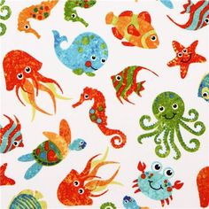 white sea animal fabric Stonehenge Undersea Adventures 1
