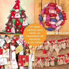 Manualidades navideñas para hacer un calendario de Adviento personalizado. http://www.guiainfantil.com/articulos/navidad/decoracion/10-ideas-para-el-calendario-de-adviento-de-los-ninos/