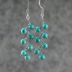 Turquoiae zigzag dangle Earrings handmade by AnniDesignsllc, $12.95