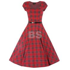 The Victoria dress in red tartan with silver stitching and a flared skirt. Perfect for parties and available in more colours from Lindy Bop! Vintage Inspired Fashion, Vintage Inspired Dresses, Vintage Style Dresses, Retro Fashion, Vintage Outfits, Vintage Fashion, Dress Vintage, 50s Dresses, Vintage Clothing