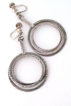 Elis Kauppi 'textured spirals' drop earrings