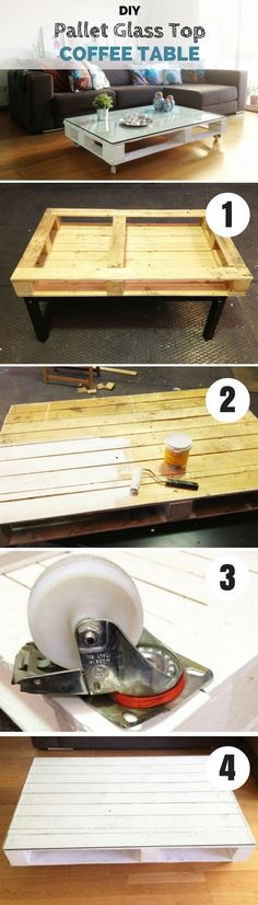 awesome Check out how to make this easy DIY Pallet Glass Top Coffee Table…... by http://www.danazhome-decorations.xyz/home-decor-accessories/check-out-how-to-make-this-easy-diy-pallet-glass-top-coffee-table/