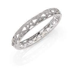 Adriana Orsini Garden Gate Pave Crystal Thin Bangle... ($155) ❤ liked on Polyvore featuring jewelry, bracelets, apparel & accessories, silver, crystal jewelry, crystal bangle bracelet, bangle bracelet, jade bangle y filigree bracelet
