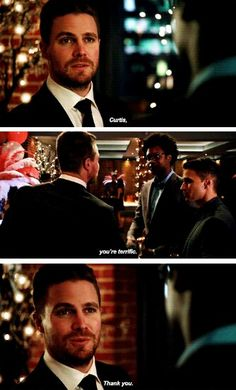 """""""In a perfect world, it'll work in time for you to walk down the aisle. But it's pretty cutting edge, I can't promise anything."""" #Arrow #MrTerrific #4x14"""