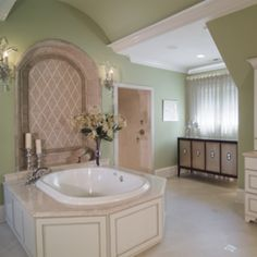 Try a sage green paint color in the bathroom for a calming tone