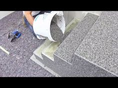 Amazing creative construction worker You need to see. Install natural stone flooring for stairs designs. quick-mix - www. Stairs Tiles Design, Tile Design, Floor Design, Flooring For Stairs, Natural Stone Flooring, Modern Stairs, Concrete Patio, Concrete Staining, Concrete Driveways