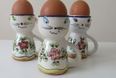 Novelty Egg Cups, Cat Egg, Cute Love Heart, Vintage Egg Cups, Cat Face, Vintage Gifts, Pretty In Pink, Cat Lovers, Hand Painted
