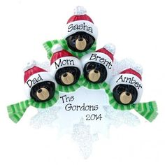 Black Bear Family of 5 Personalized Ornament. This ornament and many more can be found at www.ornaments.com