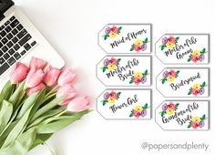 Floral gift tags, perfect for your bridal party and parents of the bride or groom! This is a digital file, choose quantity before ordering. Leave a note in the message box before purchasing with the following:  1. How many you need with each title (example: 1 Maid of honor, 4 bridesmaid, 1 mother of the bride etc.)  Once payment is confirmed, a proof will be sent via email and must approved by buyer before final product is sent. Please allow 1-3 business days for proof, when proof is…