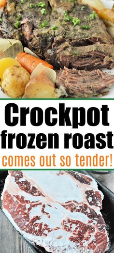 Easy frozen roast in slow cooker directions are here! Forgot to defrost your chuck roast for dinner, no problem. Use your Crockpot. #frozenroast #crockpotfrozenroast #crockpotroast Best Easy Dinner Recipes, Best Crockpot Recipes, Slow Cooker Recipes, Delicious Recipes, Easy Recipes, Easy Meals, Chicken And Beef Recipe, Easy Chicken Recipes, Veggie Recipes