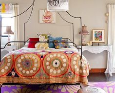 The Novogratz: Whimsical girl's bedroom with tan paint color and tan lien window panels. Anthropologie ...