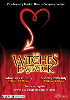 The bewitching contemporary musical, The Witches of Eastwick is hitting Riverside Studios for two days only, courtesy of City Academy Musical Theatre Company.