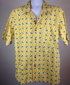 Vtg 1990s Button Up Lemonade Shirt Tommy Hilfiger All Over Large Tommy Jeans Bey | eBay