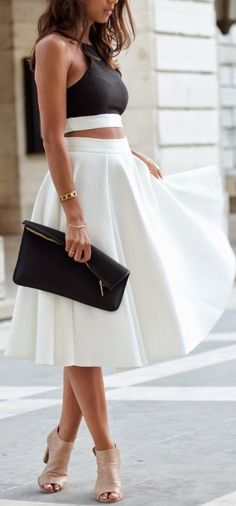 High waisted midi  white beautiful skirt black top purse heels summer outfit apparel clothes