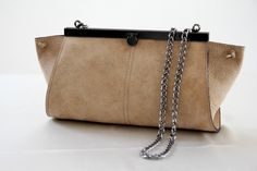 Women leather purse, tote bag, stone colore, chain strap, purse, clutch. $92.00, via Etsy.