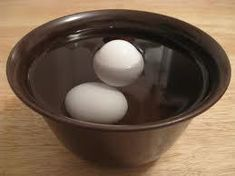 If you aren't sure how fresh your eggs are, place them in about four inches of water.  -Eggs that stay on the bottom are fresh. -If only one end tips up, the egg is less fresh and should be used soon. -If it floats, it's past the fresh stage.