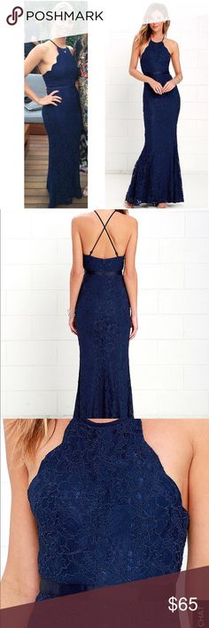 """LULUS NAVY BLUE LACE GOWN - XS/S LULUS NAVY BLUE LACE GOWN - S. This is the cutest dress ever! I bought to wear to a black tie wedding this Fall and got so many compliments. Only selling because it was seen by all of my family and friends so won't wear again. Small pilling on the low back hem. I tailored this because I'm 5'3"""" and had it shortened for $50. I will upload pic of small flaw. LABELED S but would say it's definitely on the small side - XS Lulu's Dresses"""