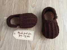 Crochet Baby Boy Easy On Loafers.  These super adorable handmade crochet Baby Easy On Loafers make a great basic shoe for baby boys. They can fold
