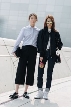 Street style: Kim Ye Rim and Shin Hye Jin shot by Alex Finch at Seoul Fashion Week Fall 2015